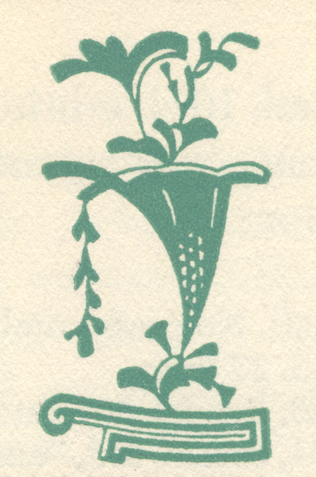 "Right ornament from ""The Court of Appeals"" title in The New Colophon vol. II, part 8 (February 1950). Design by W.A. Dwiggins."