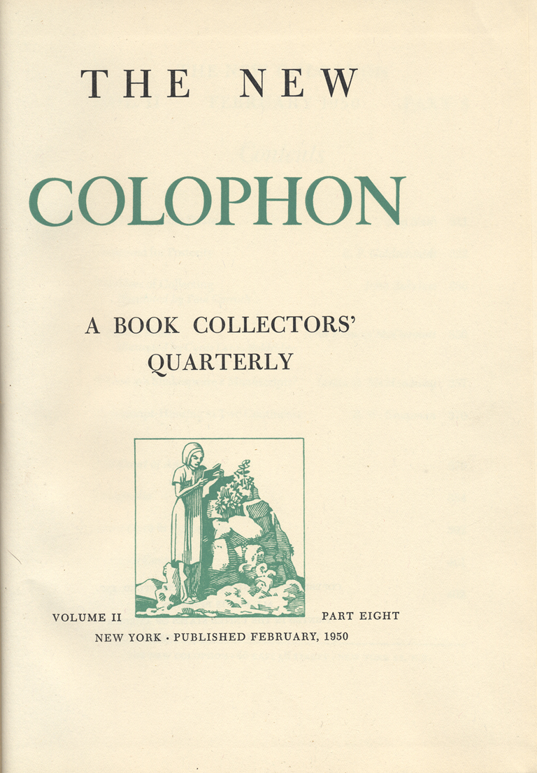 Title page of The New Colophon vol. II, part 8 (February 1950). Design, lettering, and illustration by W.A. Dwiggins.