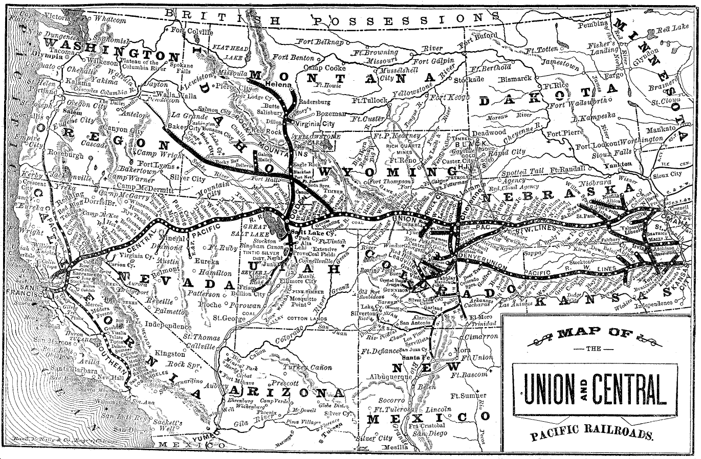 Map of the Union and Central Pacific Railroads (1890s).