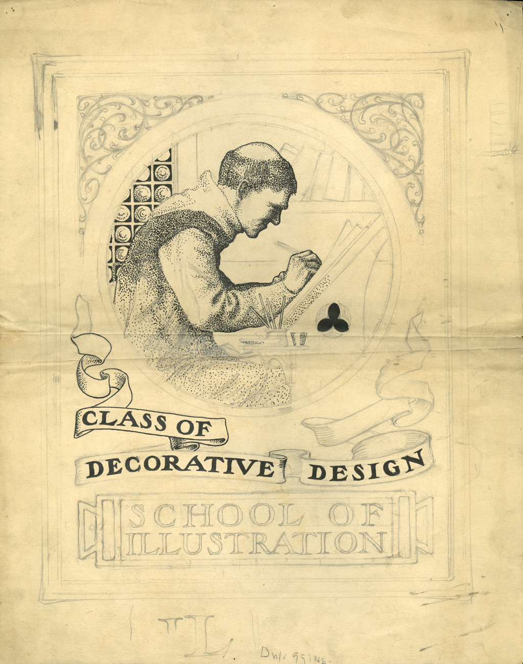 Unfinished Class of Decorative Design assignment (c.1900) by W.A. Dwiggins. Courtesy of The Newberry Library.