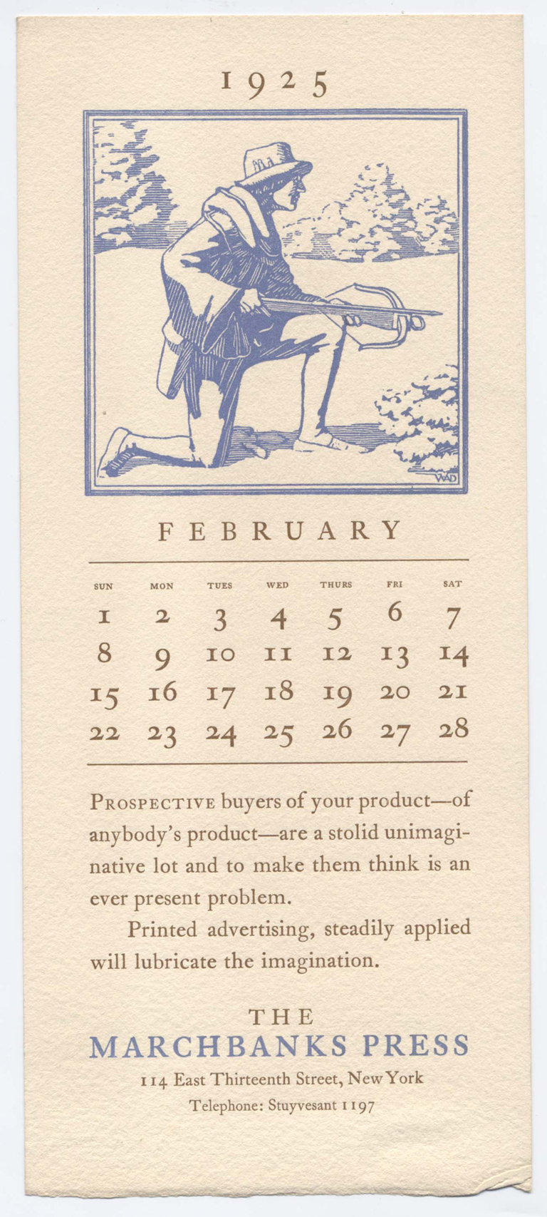 The Marchbanks Calendar for February 1925. Illustration by W.A. Dwiggins, typography and printing by The Marchbanks Press. Image from private collection of Charles Nix.