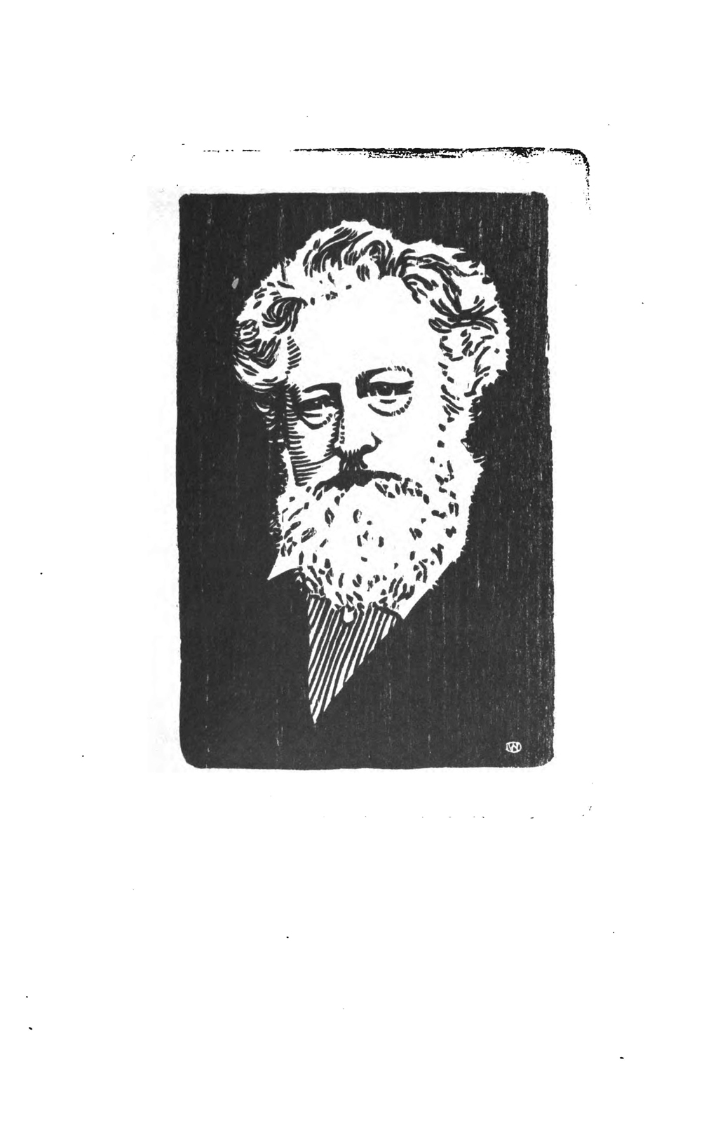 "Woodcut portrait of William Morris by W.A. Dwiggins from ""The Poetry of William Morris"" by Wallace Rice in The Blue Sky: A Monthly Magazine vol. V, no. 1 (April 1902). From GoogleBooks."