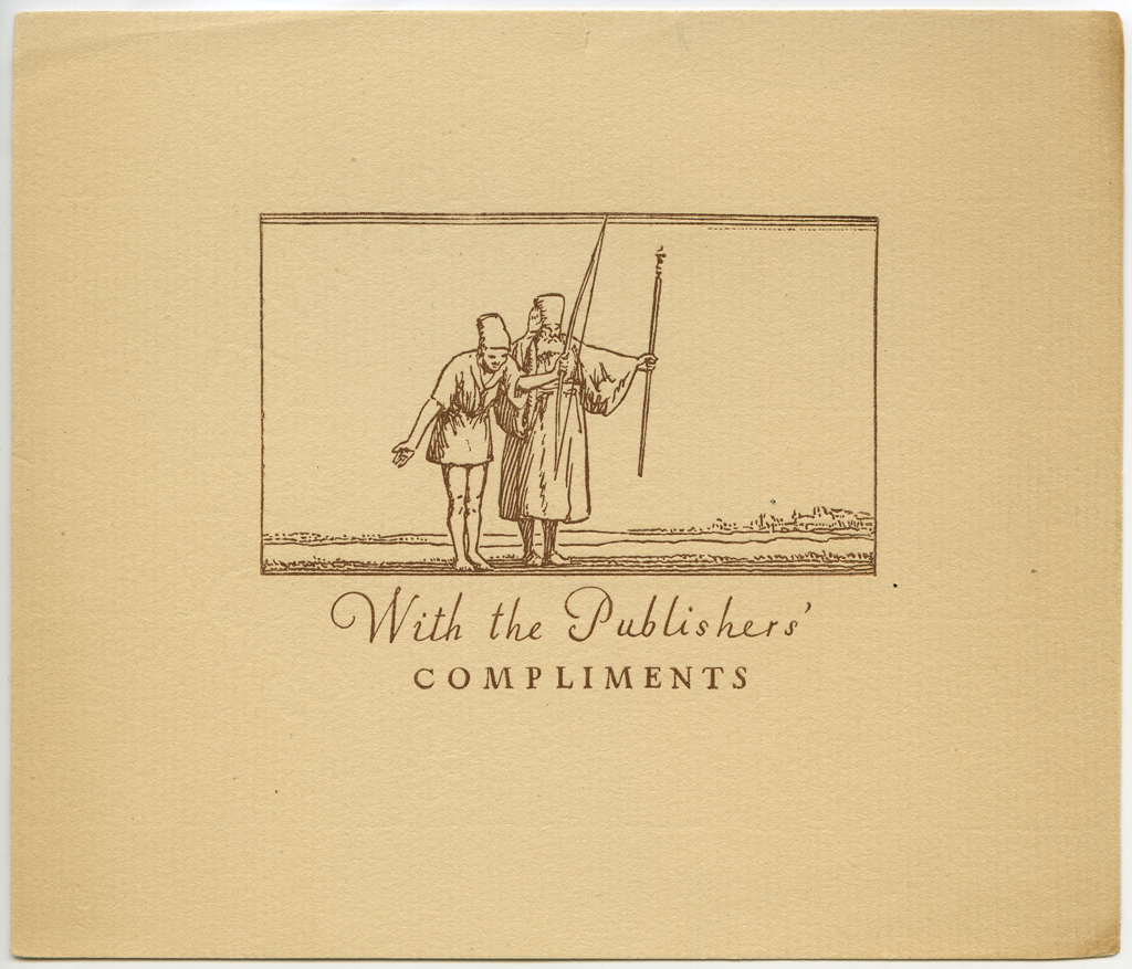 Publishers' Compliments card accompanying Extracts from an Investigation… (1919). Design, illustration, and lettering by W.A. Dwiggins.
