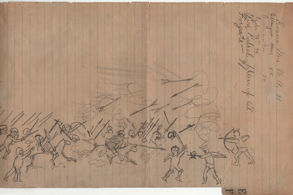 Medieval battle. Pencil drawing by W.A. Dwiggins (mid-1880s). Courtesy of Special Collections, Boston Public Library.