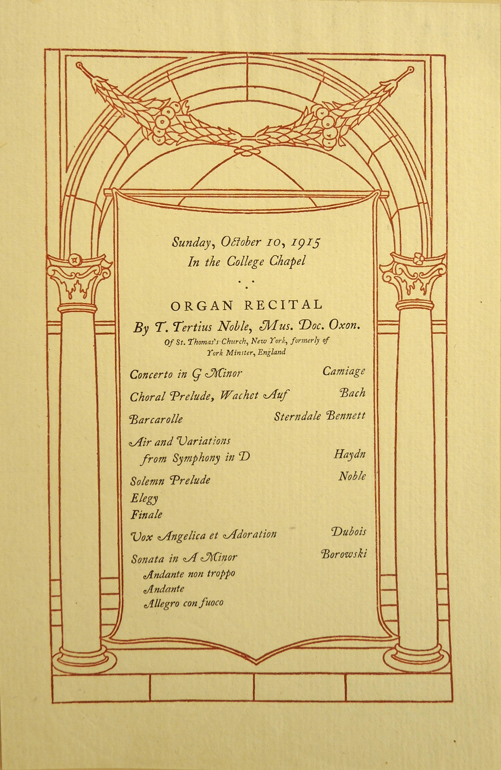Program for Organ Recital (October 10, 1915). Printing by The Merrymount Press.