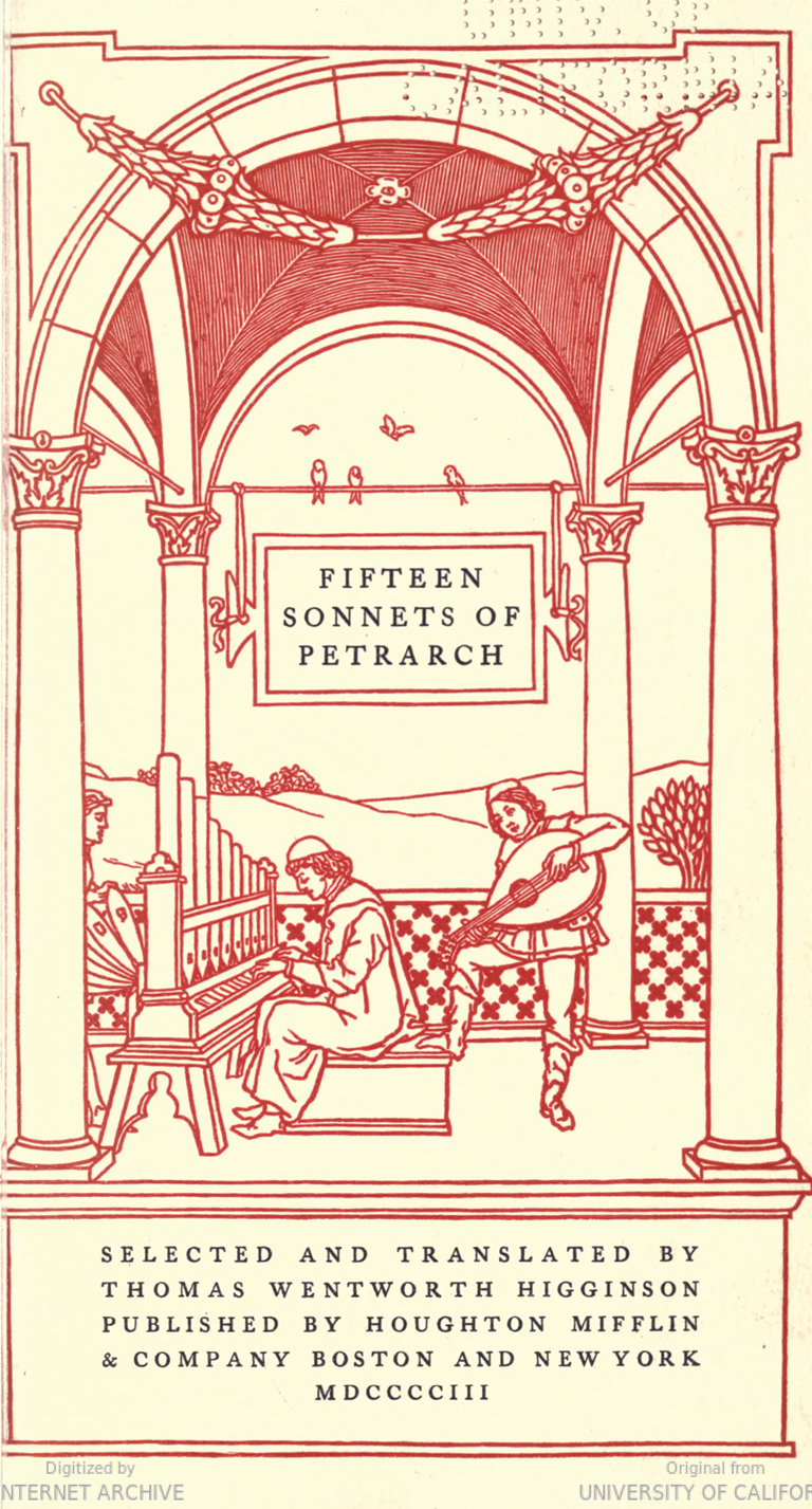 Title page of Fifteen Sonnets of Petrarch selected and translated by Thomas Wentworth Higginson (Boston and New York: Houghton, Mifflin & Company, 1903). Design by Bruce Rogers.