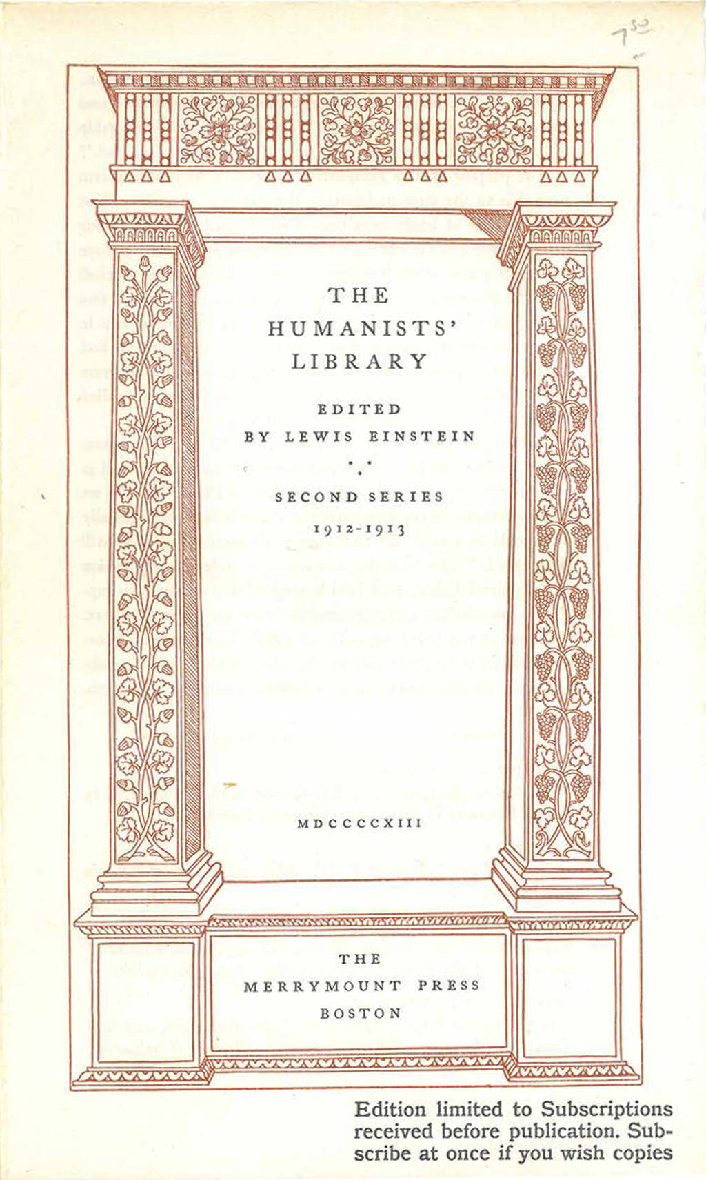 Circular for The Humanists' Library Second Series 1912–1913 (1913). Illustration by W.A. Dwiggins; typography by D.B. Updike; printing by The Merrymount Press/