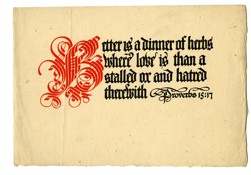 Proverbs 15:17 dodger for Alfred Bartlett (1906). Design and lettering by W.A. Dwiggins.