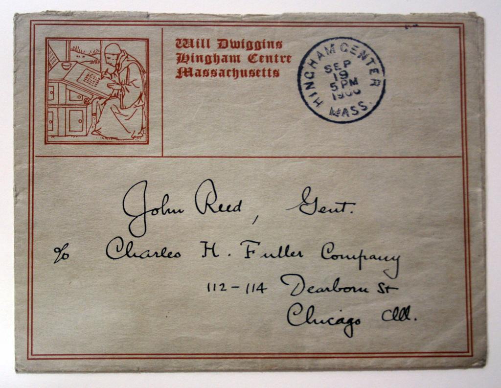 Envelope (1906). Design by W.A. Dwiggins.