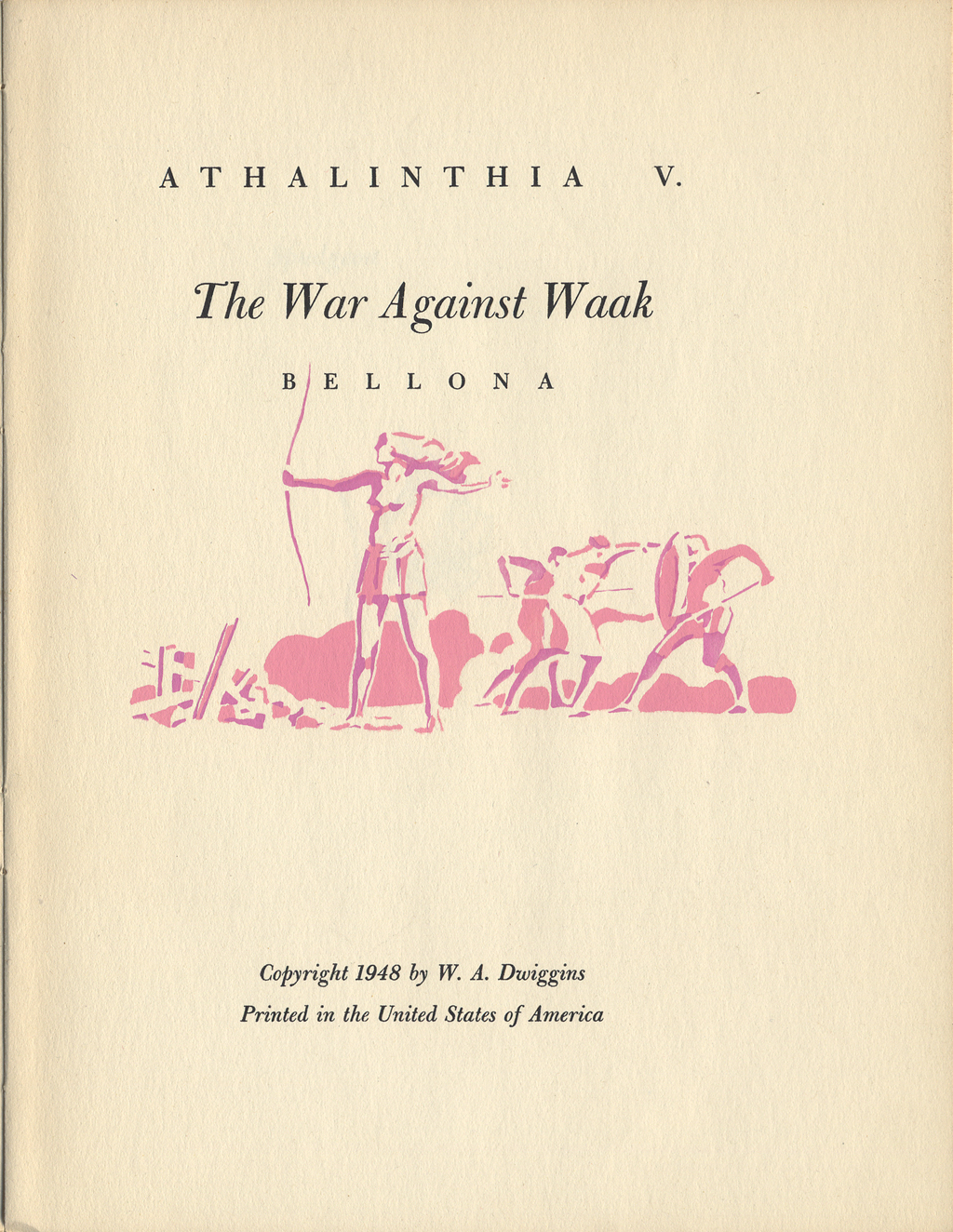 Title page for The War Against Waak by W. A. Dwiggins (Hingham, Massachusetts: Püterschein-Hingham, 1948). Illustration and typography by W.A. Dwiggins.