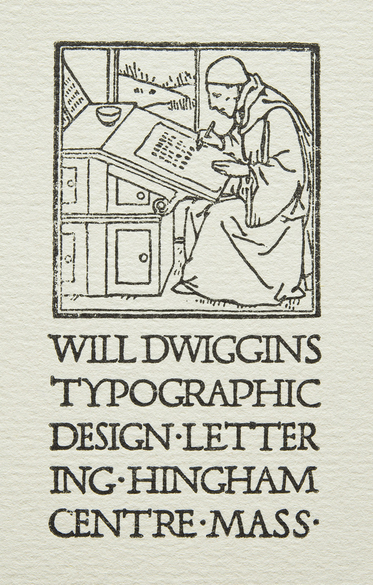 Will Dwiggins Typographic Design bookplate or business card. Design, illustration, and lettering by W.A. Dwiggins (c.1906).