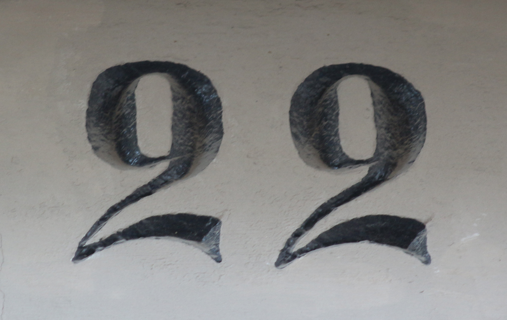 Incised house number in Copenhagen. Photograph by Paul Shaw (2015).