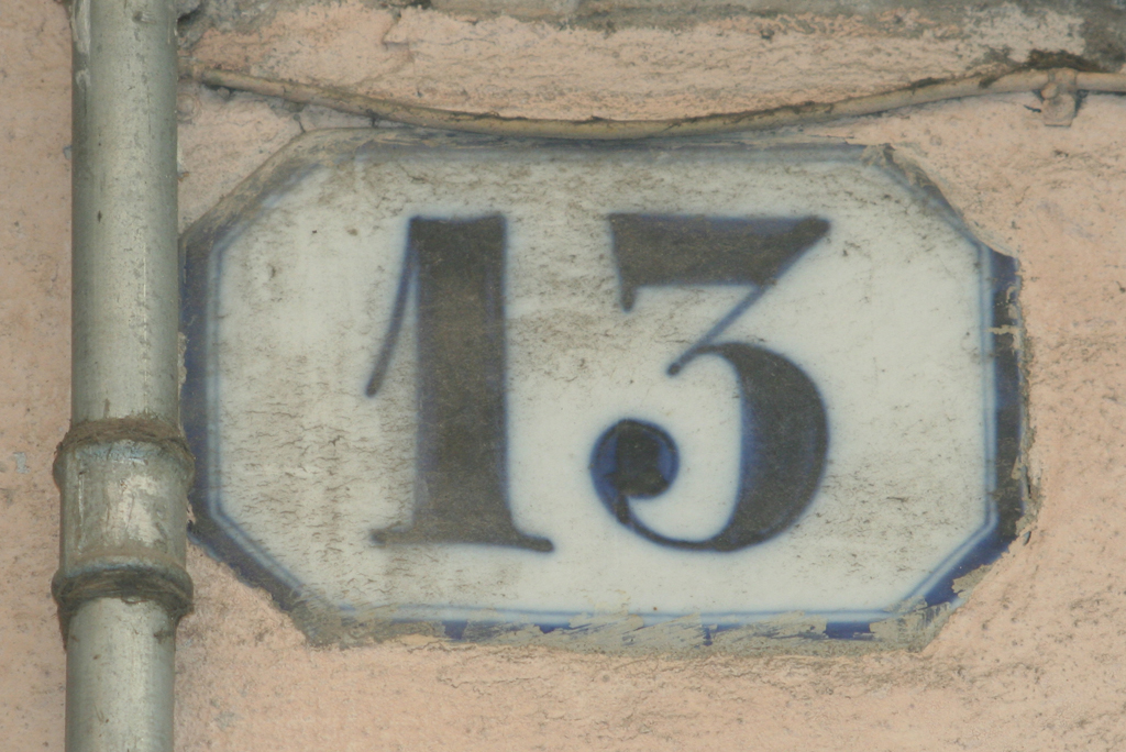 Enameled house number in Verona. Photograph by Paul Shaw (2012).